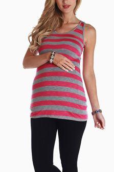 Pink Grey Striped Racerback Maternity Tank