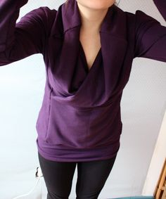 Made To Order // Bamboo Purple Long Sleeved Cowl Top / by Replicca / size Large