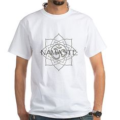 CafePress  Namaste Om White TShirt  100 Cotton TShirt Crew Neck Comfortable and Soft Classic White Tee with Unique Design -- Details can be found by clicking on the image.