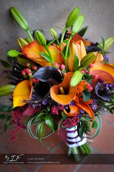 tiger and calla lily bouquet