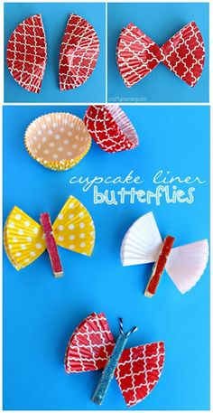 Cupcake Liner Butterfly Clothespins Craft #Kidscraft #DIY Magnets | CraftyMorning.com