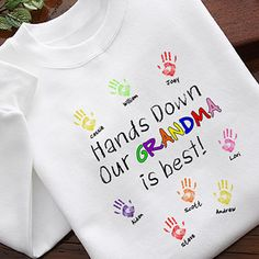 Personalized Grandma T Shirts - What a fun look for Grandma!  You can add up to 12 kids names, and you can change the name from Grandma to another name such as Nana.  Choose from 7 colors, or you can get it as a sweatshirt.