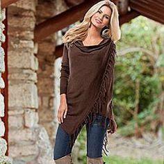 YEJIA FASHION Spring Autumn Cardigans Tops Women Casual Loose Long Sleeve Irregular Hem Tassel Cardigan Cape Poncho Black Gray