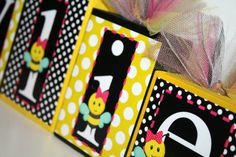 Kylie Bumble Bee Collection  Girl Bumble Bee name blocks - These were custom made to match bee baby shower!!! :)