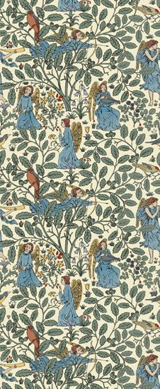 """""""Angelic Forest"""" is a late Voysey pattern offering the designer's view of a world that is quite simply pure magic. There are always fairies at the bottom of Voysey's garden and obviously angels, too. This pattern is our first digitally produced design and is 21"""" wide."""