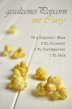 Rezept für selbstgemachtes Herzhaftes Popcorn mit Salz und Curry