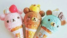 Rilakkuma Bear Ice Cream Cones.