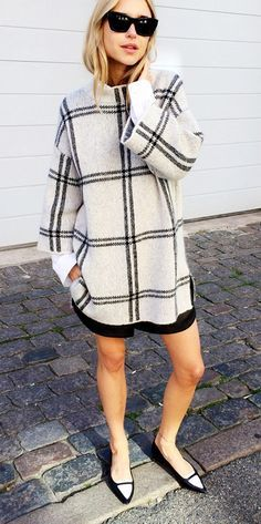 oversized sweater, skirt, and loafers