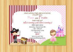 Princess pirate birthday invitation princess and pirate party princess pirate birthday invitation princess and pirate party invitation twins siblings printable pirate birthday invitations pirate birthday and filmwisefo