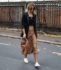 Leopard Print Skirt Outfit Ideas Black Tank Top Black Blazer Layered Necklaces Classic Aviators Sneaker Outfit Ideas Street Style Off Duty Style How to Style Leopard Skirt Blonde Hair Styles Balayage Medium Hair Styles Source by stylereportmag ideas black Look Fashion, Street Fashion, Autumn Fashion, Fashion Outfits, Womens Fashion, Fashion Trends, Fashion Ideas, Feminine Fashion, Fashion Clothes