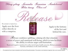 Young Living Essential Oils: Release My favorite! Purification Essential Oil, Thieves Essential Oil, Essential Oil Uses, Natural Essential Oils, Young Living Oils, Young Living Essential Oils, Young Living Release, Calming Oils, Yl Oils