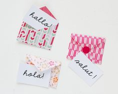 Mini envelopes with cards (in German/with pictures) #printable #greetingcards