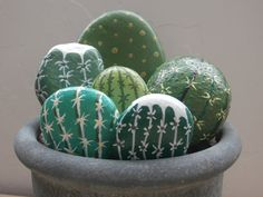 Cactus Painted Rocks  Set of Six by PlaceForYou on Etsy