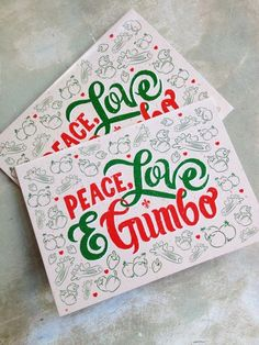 peace love gumbo holiday cards pack of 10 christmas cocktail party xmas party holiday - Cajun 12 Days Of Christmas