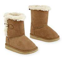 Koala Kids Girls Brown Suede Faux Fur Lined Hard Sole Toggle Boot