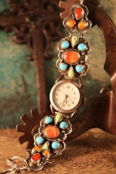 I love this colorful Darrrel Cadman Turquoise and Spiny Oyster watch from Cowgirl Kim