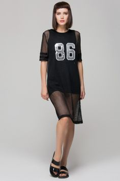 Mesh dress with sequined number $80.00 Follow trends with www.frontrowshop.com