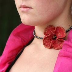 crocheted necklace - poppy by MarianneS, via Flickr