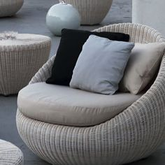 The chic design of the Bubble lounge chair is perfect as a single chair or an arrangement of several.All pieces are constructed with a rust and corrosion proof aluminum frame and have a baked on enamel finish. The frame is wrapped with Shintotex woven polyurethane resin wicker which is highly resistant to all weather and everyday wear and tear. The cushions are made with a quick drying outdoor rated foam and covered with Sunbrella outdoor acrylic fabric that has excellent resistance to…
