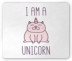 """Unicorn Cat Mouse Pad by Ambesonne, Fantasy Animal with """"I am a Unicorn"""" Quote Lovely Funny Fictive Kitten, Standard Size Rectangle Non-Slip Rubber Mousepad, Baby Pink Purple #funnyanimalquotes"""