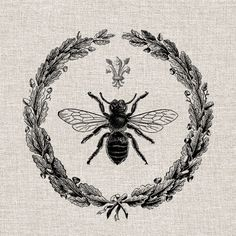 Vintage Queen Bee French wreath Collage Digital  by vinthstock