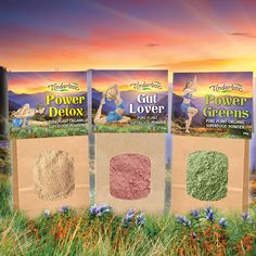 With Certified Organic Ingredients. Select from Power Greens, Gut Lover and Power Detox. Organic Fruit, Organic Plants, Barley Grass, Marshmallow Root, Slippery Elm, Superfood Powder, Organic Superfoods, Aromatic Herbs, Milk Thistle