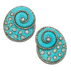 ANUJ Carved Shell Earrings  Mumbai  21st Century  One-of-a-Kind Shell Earrings with carved turquoise (70.00tcw) and round brilliant-cut diamonds (3.13tcw) set in 14k yellow gold with a 14k yellow gold post and clip.