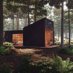 Pine Forest House ♥ Render by Are you looking for a support for your interior and and architectural visuals ? Forest Cabin, Forest House, Pine Forest, Tiny House Cabin, Tiny House Design, Modern Tiny House, Modern Wood House, Modern Cottage, Cabin In The Woods