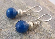 Royal Blue Agate Earrings,Silver Plated Earring,Dark Blue Earring,Navy Blue Jewelry,Modern Jewellery, Statement Earring, Blue Gemstone by RubiesAndBees on Etsy