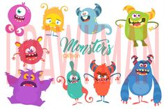 Design by drawkman Funny Monsters, Cartoon Monsters, Monster Illustration, Graphic Illustration, Monster Face, Monster Characters, Monster Design, Gremlins, Illustrations