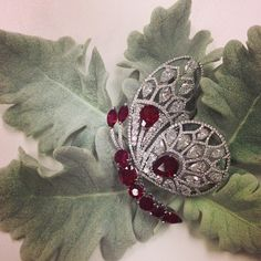A Burmese pigeon blood ruby and diamond butterfly brooch, to be offered on May 27 @christiesinc in Hong Kong ❤️ #ChristiesJewels