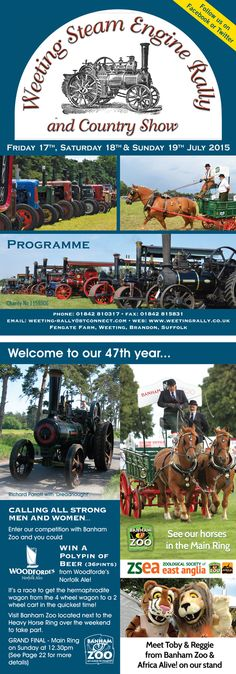 Weeting Steam Engine Rally & Country Show, 2015 Programme cover and inside page.
