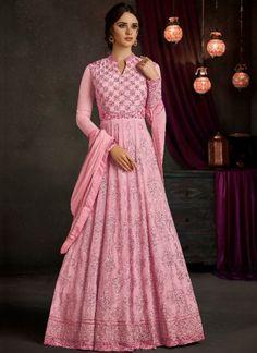 Pink Embroidery Thread Work Designer Satin Wedding Wear Long Gown #desingersalwarsuit #pakistanisuit #gown #Partyweardress http://www.angelnx.com/GOWN