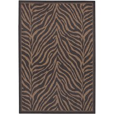 @Overstock.com - Recife Zebra Black Cocoa Rug (5'3 x 7'6) - Designed to make entryways and patio decks warmer and more inviting, this Couristan Recife rug is power-loomed of fiber-enhanced Courtron polypropylene using a naturally inspired color palette. This area rug is perfect for both indoor and outdoor use.  http://www.overstock.com/Home-Garden/Recife-Zebra-Black-Cocoa-Rug-53-x-76/7716346/product.html?CID=214117 $99.00