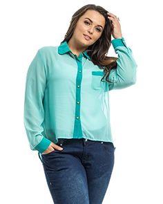 1883dbad Buy Plus Size Women Sheer Button Shirt Solid Teal Roman Long Sleeve Hi-lo  Hem online