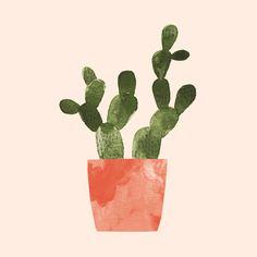 Plant 47 Art Print by jenbpeters Cactus Illustration, Fantasy Illustration, Botanical Illustration, Cute Patterns Wallpaper, Diy Wall Art, Printable Wall Art, Watercolor Art, Art Drawings, Art Prints