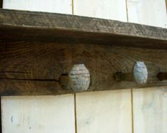 Old Barn Wood Home Decor | Rustic Barn wood - Railroad - Spike - Shelf - Seven Spike Hooks - 40 ...