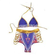 09e82b05b879 Bikini 2018 Sommar Wild Nature Style Gilding Wear Tight Baddräkt Baddräkt  Resilient Bikini Baddräkt Striped High