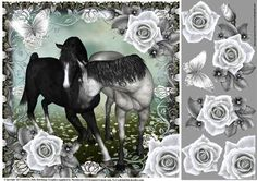 The Beautiful Black And Grey topper on Craftsuprint designed by Julie Hutchings - Beautiful black and grey horses with roses decoupage  - Now available for download!