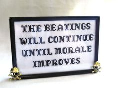 The Beatings Will Continue Pirate Cross by SnarkyLittleStitcher, $15.00
