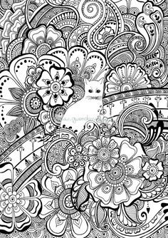 Colour the cat with henna flowers colouring in by gwendaviesart Abstract Doodle Zentangle Paisley Coloring pages colouring adult detailed advanced printable Kleuren voor volwassenen coloriage pour adulte anti-stress kleurplaat voor volwassenen Line Art Black and White