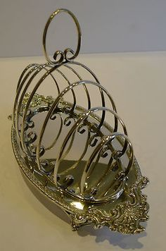 antique English silver plate toast rack/letter holder,ca.1899