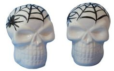 Skull Salt And Pepper Shakers: Spider Web Skulls Salt Pepper Shakers, Salt And Pepper, Halloween Themes, Home Decor Accessories, Cool Kitchens, Skulls, Spider, Stuffed Peppers, Fun Ideas