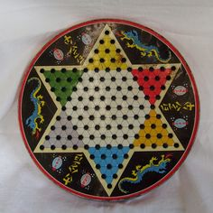 Vintage game board tin double sided chinese checkers and checkers great graphics.