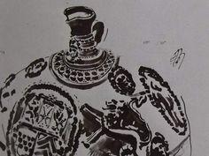 """Ce détail d'un dessin de Victor Hugo représente le sommet d'un vase, décoré de motifs circulaires, et son bec verseur - Lié au poème """"Le lendemain"""", du recueil """"Les Chansons des rues et des bois (IV. Pour d'autres)"""" de ce même Victor Hugo."""