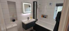 Increased Storage Space In This Latest Bathroom Transformation - Blok Designs Ltd White Wall Tiles, White Walls, Long Bath, Topps Tiles, Vinyl Flooring, Fitted Bathrooms, Luxury Bathrooms, Storage Spaces, Bathtub
