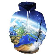 the world map globe blue earth graphic women men 3d novelty hoodies drawnstring