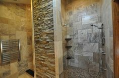 Gorgeous Tile Shower Idea And Corner Wall Shelves Feat Stone ...