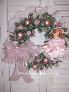 Shabby Pink Christmas Wreath With Victorian Porcelain Doll Roses Lace Pearls picclick.com