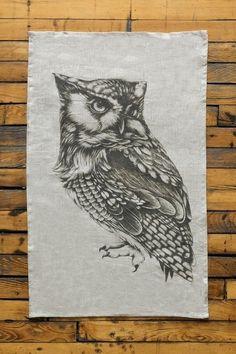 Laura Zindel Design Owl Tea Towel